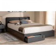 Baxton Studio Rikke Gray and Walnut Finished Wood Queen Size Platform Storage Bed Red/Gray/Brown