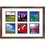"""Frames by Mail multimat-58940-aam6003Seis Cuadrado Apertura Collage Marco para fotografías de 6"""" x 8"""", Madera de Caoba"""