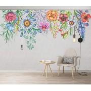 MIWEI Wallpaper Fotomural Pared Acuarela Nórdica Pintada A Mano Flores Papel Pintado 3D Mural Pared Moderno Wallpaper,300cmX210cm