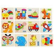 Montez Wooden Animals 3D Puzzle Children's Educational Toys (Set Of 12 Puzzles) 15 Cm - Multicolor (12 Pieces)