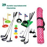 SOWOFA Golf Pro Set Clubes de Juguete Banderas Prácticas Bolas Deportes Juego en el Interior Entrenamiento para jóvenes 29PCS con Mochila Impermeable