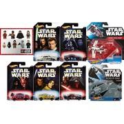 STAR WARS Vehicles Ships + Master & Apprentice Hot Wheels Exclusive 5-pack Cars + Tie Striker / Rebel Attack Gunship + Last Jedi Sticker Sheet