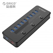 ORICO H10C1-U3-BK Super Speed USB 3.0 10 Ports HUB & 5V 2A Smart Charging with 3 Switch and 12V 4A Power Adapter EU Plug Black