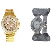 Paidu Gold and Fency Silver Dimond Zulla Watches For Men and Women