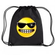 Bellatio Decorations Nylon emoticon smile stoer rugzak zwart met rijgkoord
