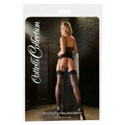 Cottelli - back striped stockings with high heels (black)