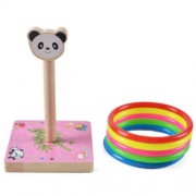 Kindergarten Children Wooden Panda Animal Throwing Ring Toss Games Activities Toys Size: 9*9*14.7cm