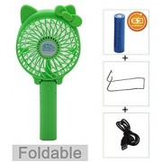 Portable USB Mini Cooling Fan with Metal Clip for Home Office Outdoor (Rechargeable Handheld Hello Kitty Style (Green)
