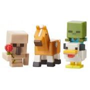 Minecraft Mini Figure 3-Pack, Iron Golem with Flower, Chicken Zombie & Palamino Horse