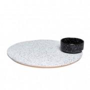 Forgó tányér tállal, Eclipse, kerámia-fa, 40x40x9 fekete, fehér