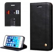 Para IPhone 5 Y 5S Y Caballo Loco Textura Funda Cuero (negro)