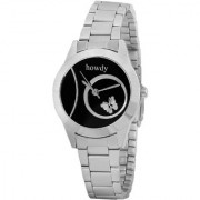 Howdy Studded Black Dial Analog Watch With Silver Stainless Steel chain