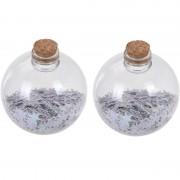 Bellatio Decorations 2x Fles kerstballen witte sterren 8 cm kunststof