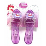 Disney Princess Collection Ariel Shoes Slippers Clear Purple with Sparkles for Children to Dress up As Favorite Princess (1 Pair)