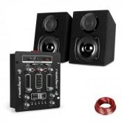 Resident DJ DJ-25 Mesa de mezclas DJ + auna ST-2000 Juego de altavoces Negro/blanco (PL_DJ25BT_BK)
