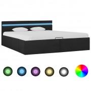 vidaXL Легло с повдигащ механизъм с LED тъмносиво текстил 160x200 см