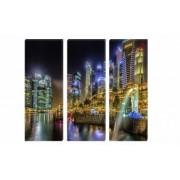 Set Tablouri Multicanvas 3 Piese Oras cu Lumini - 150 x 70 cm