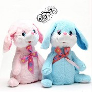 Funny Teddy Dancing & Singing Plush Rabbit Music Soft Toy Rabbit Ears Hands Moves Up Down (Blue)