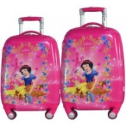 Texas USA set of 2 bags 18 inches and 22 inches PRINCESS1 Printed Polycarbonate 4 wheel Kids Trolley Bag Expandable Cabin Luggage - 22 inch(Pink)