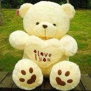 Peach 2.5 Feet Sitting Paw Teddy Bear holding an I Love You Heart
