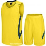 Баскетболен екип потник с шорти - жълто със синьо