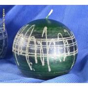 kaarsen: Kogelkaars XXL GROEN METALLIC met zilver, Ø12 cm - Kerst