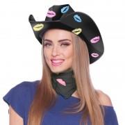 Merkloos Zwarte kartonnen cowboyhoed met lippen/kusjes voor dames - Verkleedhoofddeksels