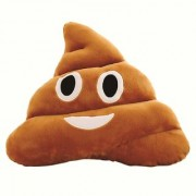 REBUY Soft Smiley Emoji Dark Brown Poop Cushion Pillow Stuffed Plush Toy ( 35cm Happy Emoji) (Laughing Emoji)