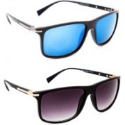 TheWhoop Rectangular, Wayfarer Sunglasses(Blue, Black)
