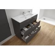 Set PROMO mobilier Gala Agata 79.7 x 45.3 cm gri lucios cu picioare si lavoar Emma -7931417