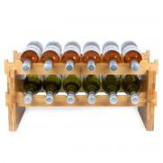 KitchenBrothers Bamboe Wijnrek - 58,5 cm breed - 12 flessen - 2-delig Modulair en stapelbaar