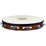 Meinl Percussion TAH1AB Traditional 10-Inch Wood Tambourine with Goat Skin Head and Steel Jingles 1 Row