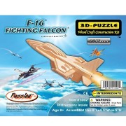 Puzzled F 16 Fighting Falcon Wooden 3 D Puzzle Construction Kit
