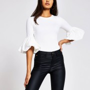 river island Womens White short sleeve frill detail top (6)