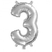 Stylewell Solid Silver Color Single Number (3) 3d Foil Balloon for Birthday Celebration Anniversary Parties