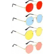 Elgator Retro Square Sunglasses(Red, Blue, Yellow, Pink)