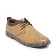 TEN Beige Leather Brogues Corporate Casuals For Men(Beige)