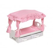 Badger Basket Canopy Bed with Storage Baskets (Fits American Girl Dolls), White/Pink
