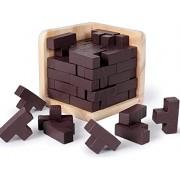Rolimate Brain Teaser 3D Wooden Puzzle T-Shaped Tetris Educational Puzzles for Kids and Adults, Geometric Intellectual Jigsaw Puzzle 54pcs Blocks Explore Creativity Problem Solving Gift Desk Puzzles