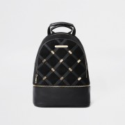 River Island Womens Black quilted and stud backpack (One Size)