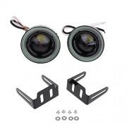 ELECTROPRIME® 3.5'' White Bulbs Fog Light Lamp w/Ice Blue Angel Eye Rings Conversion Kit