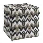 Dekoria Pokrowiec na pufę kostke, czarno- beżowe zygzaki o nieregularnym ksztacie na jasnym tle , kostka 40 × 40 × 40 cm, Modern