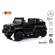 Mașinuță electrică pentru copii Mercedes-Benz G63 6X6 Truck, Negru, Ecran LCD, 6 roți, Roți cu iluminare din spate, 12V14AH, Baterii portabile, Scaun din piele, telecomandă 2.4 GHz, cheie de pornire, 4X motoare, Două pedale
