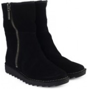 Clarks Olso Beth Black Sde Boots For Women(Black)