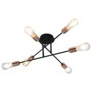 vidaXL Таванна лампа, черно и мед, E27