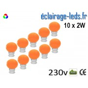 Lot de 10 ampoules LED B22 2w orange dépolie 230v ref b22-07