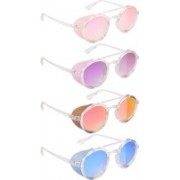 NuVew Round, Shield Sunglasses(Pink, Violet, Red, Golden, Blue)