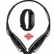 Hy Touch Branded HBS 730 Neckband Bluetooth Wireless Headphone M3 Fitness Health Band Black ( COMBO OFFER )