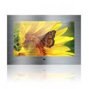Nemo Stock Mues Tec keuken TV front in roestvrijstaal brushed met 47cm beeldscherm IP65 totale grootte spiegel 55 x 35,6 cm met montageframe waterdichte afstandsbediening 12V KG-1850