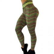 DSDZ Las nalgas de franjas de color Printting Yoga medias de las mujeres que estiran los pantalones de la aptitud (Color : Green, Size : M)